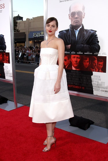 "BROOKLINE, MA - SEPTEMBER 15:  Actress Dakota Johnson attends the Boston premiere of ""Black Mass"" at..."