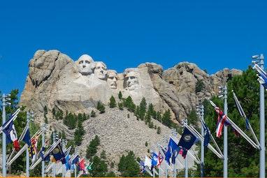 Flags in Mount Rushmore National Memorial, South Dakota