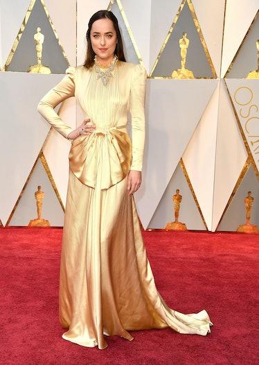 HOLLYWOOD, CA - FEBRUARY 26:  Dakota Johnson arrives at the 89th Annual Academy Awards at Hollywood ...