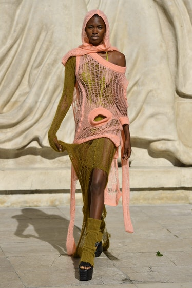 PARIS, FRANCE - SEPTEMBER 30: A model walks the runway during the Rick Owens Ready to Wear Spring/Su...