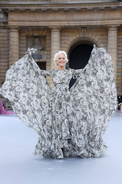 "Helen Mirren walks the runway during the ""Le Defile L'Oreal Paris""  Show as part of Paris Fashion We..."