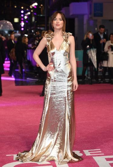 LONDON, ENGLAND - FEBRUARY 09:  Dakota Johnson attends the European Premiere of 'How To Be Single' a...