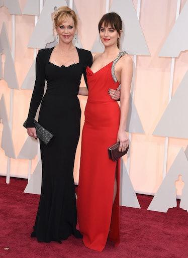 HOLLYWOOD, CA - FEBRUARY 22:  Melanie Griffith and Dakota Johnson arrives at the 87th Annual Academy...