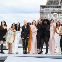 PARIS, FRANCE - OCTOBER 03:  Cindy Bruna, Katherine Langford, Camila Cabello, Aishwarya Rai, Helen M...