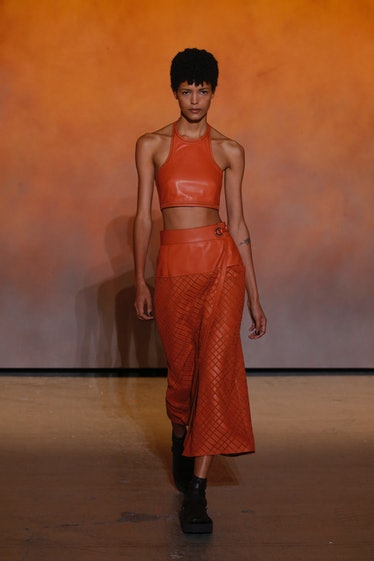 PARIS, FRANCE - OCTOBER 02: A model walks the runway during the Hermes Ready to Wear Spring/Summer 2...