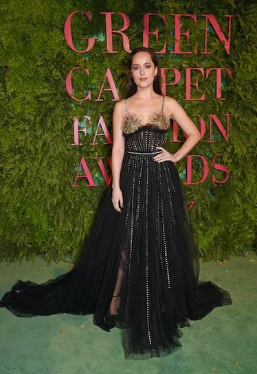 MILAN, ITALY - SEPTEMBER 24:  Dakota Johnson attends the Green Carpet Fashion Awards, Italia, wearin...