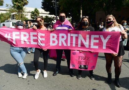 LOS ANGELES, CALIFORNIA - SEPTEMBER 29: #FreeBritney activists protest during a rally held in conjun...
