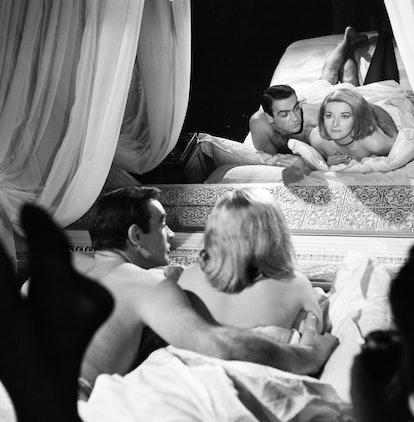 Sean Connery as James Bond with actress Daniela Bianchi as Tatiana Romanova in scene from the film F...