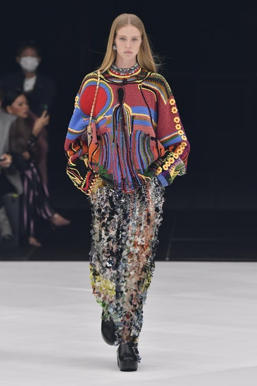 PARIS, FRANCE - OCTOBER 03: A model walks the runway during the Givenchy Ready to Wear Spring/Summer...
