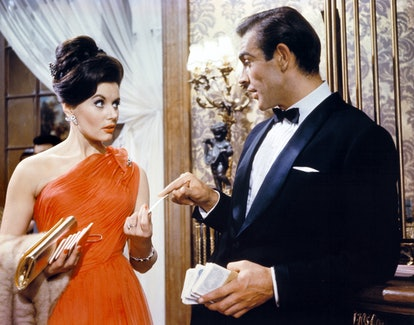 """Actor Sean Connery and actress Eunice Gayson on the set of """"Dr No"""". (Photo by Sunset Boulevard/Corbi..."""