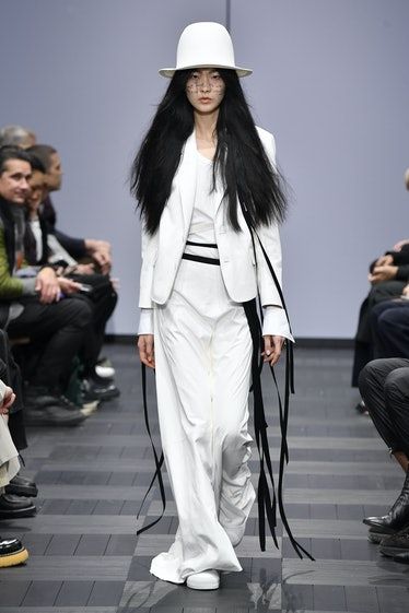 PARIS, FRANCE - OCTOBER 03: A model walks the runway during the Ann Demeulemeester Ready to Wear Spr...