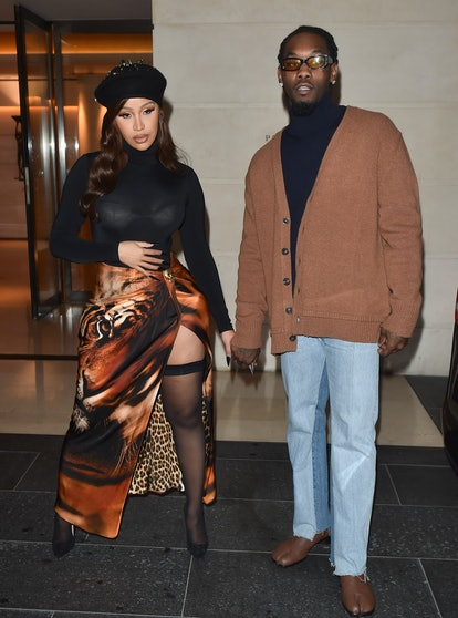 PARIS, FRANCE - OCTOBER 1: Cardi B and Offset head out for the evening on October 1 2021 in Paris, F...