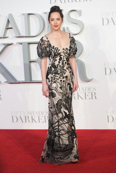 "LONDON, ENGLAND - FEBRUARY 09:  Dakota Johnson attends the ""Fifty Shades Darker"" - UK Premiere on Fe..."