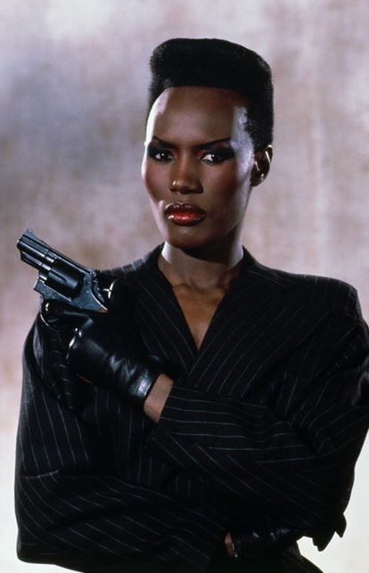 Jamaican actress Grace Jones on the set of the James Bond 007 film A View to a Kill, directed by Joh...