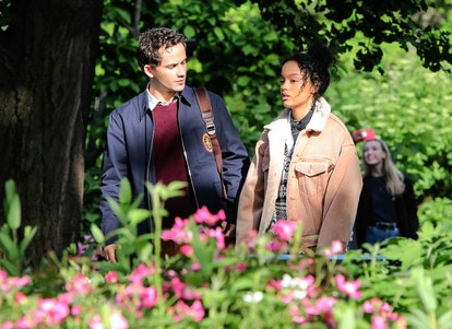 Whitney Peak and Eli Brown are seen at the film set of the 'Gossip Girl' TV Series in Central Park. ...