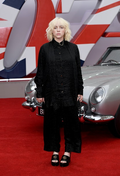 """LONDON, ENGLAND - SEPTEMBER 28: Musician Billie Eilish attends the World Premiere of """"NO TIME TO DIE..."""