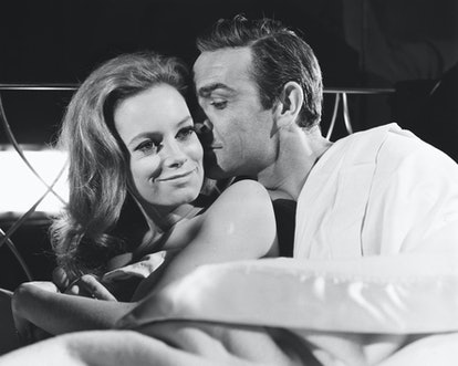 British actor Sean Connery films a love scene with Italian actress Luciana Paoluzzi during the makin...