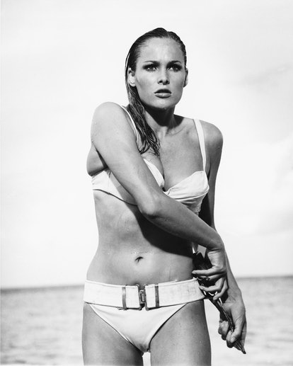 Swiss actress Ursula Andress as Honey Ryder in a scene from the James Bond film 'Dr. No', 1962.  (Ph...