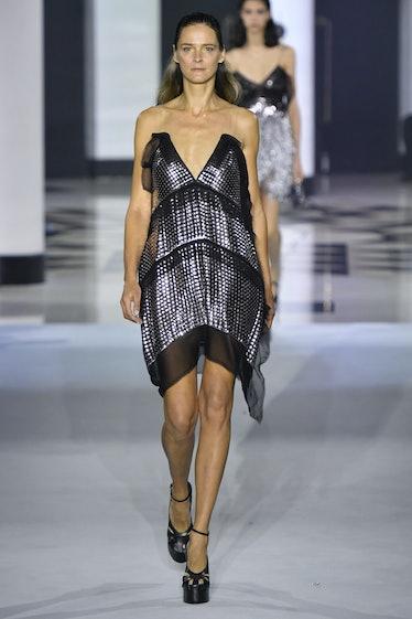 PARIS, FRANCE - OCTOBER 03: Carmen Kass walks the runway during the Lanvin Ready to Wear Spring/Summ...