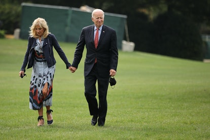 First lady Jill Biden and President Joe Biden return to the White House after spending the weekend i...