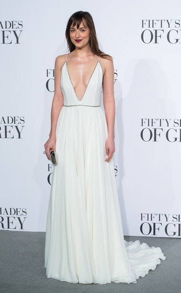 """LONDON, ENGLAND - FEBRUARY 12:  Dakota Johnson attends the UK Premiere of """"Fifty Shades Of Grey"""" at ..."""