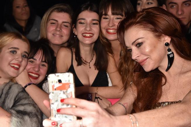 BILBAO, SPAIN - NOVEMBER 04:  Lindsay Lohan poses with fans at the MTV EMAs 2018 at Bilbao Exhibitio...