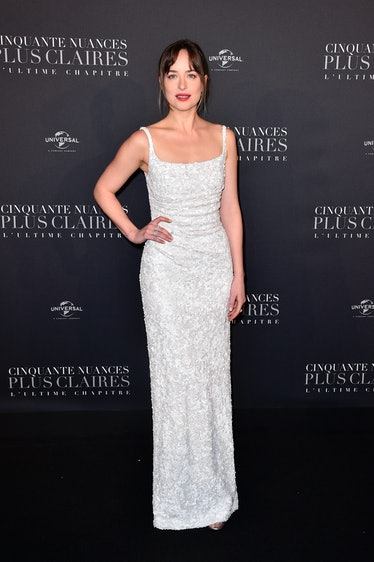 """PARIS, FRANCE - FEBRUARY 06:  Dakota Johnson attends the """"Fifty Shades Freed - 50 Nuances Plus Clair..."""