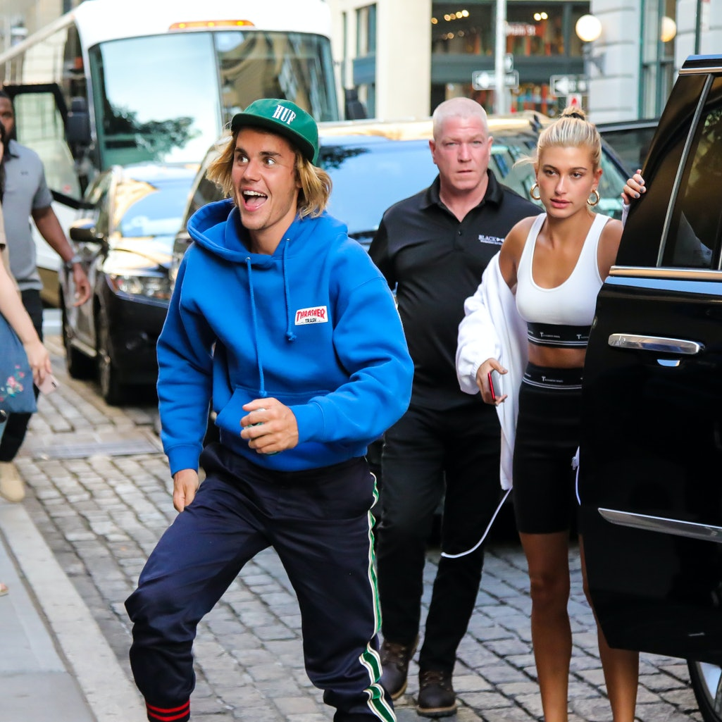 NEW YORK, NY - JULY 12:  Justin Bieber and Hailey Baldwin are seen heading to dinner in Dumbo on Jul...