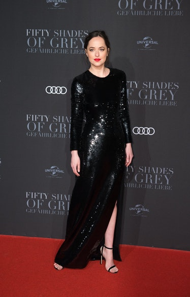 """Leading actress Dakota Johnson arrives for the European premiere of the film """"Fifty Shades Darker"""" a..."""