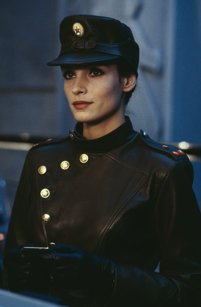 Dutch-born actress Famke Janssen stars as the villainous Xenia Onatopp in the James Bond film 'Golde...