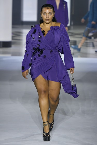 PARIS, FRANCE - OCTOBER 03: Paloma Elsesser walks the runway during the Lanvin Ready to Wear Spring/...