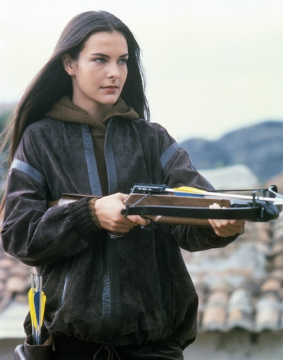 French actress Carole Bouquet on the set of For Your Eyes Only, directed by John Glen. (Photo by Sun...