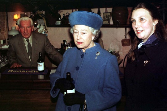 HM The Queen with landlady Caroline Cheffers-Heard during her first-ever official visit to a pub at ...