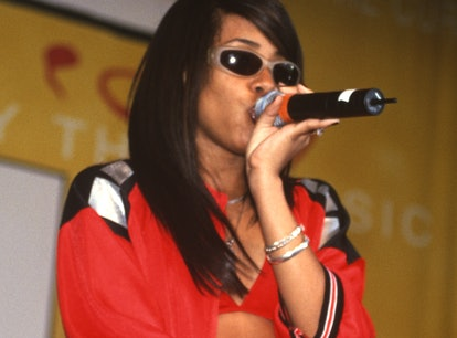Aaliyah performs during KMEL Summer Jam at Concord Pavilion on August 9, 1997 in Concord, California...