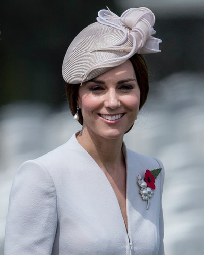 Kate Middleton wearing Princess Diana's South Sea Pearl earrings in Ypres, Belgium in July 2017.