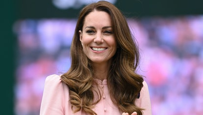 Kate Middleton attends day 13 of the Wimbledon Tennis Championships at All England Lawn Tennis and C...
