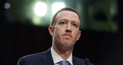 WASHINGTON, DC - APRIL 10: Facebook CEO, Mark Zuckerberg appears for a hearing at the Hart Senate Of...