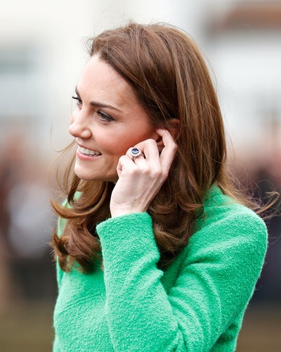 Kate Middleton wears Princess Diana's sapphire engagement ring.