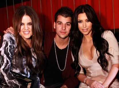 LAS VEGAS, NV - MARCH 18:  Khloe Kardashian, Rob Kardashian and Kim Kardashian pose at Jet at The Mi...