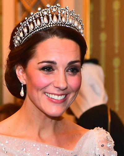 Kate Middleton wears Princess Diana's Queen Mary's Lover's Knot Tiara.