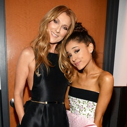 LOS ANGELES, CA - NOVEMBER 22:  (Exclusive Coverage) Celine Dion and Ariana Grande attend the 2015 A...