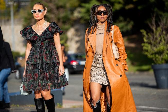 PARIS, FRANCE - SEPTEMBER 30: Guests seen outside Coperni during Paris Fashion Week - Womenswear Spr...
