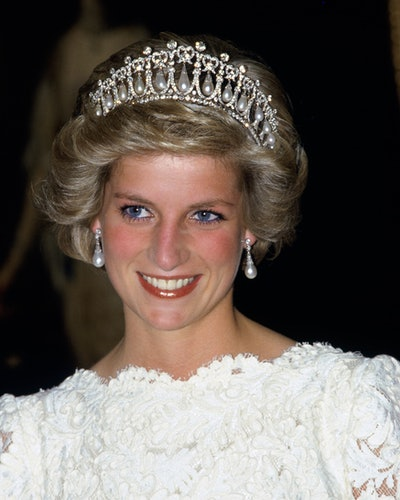 Princess Diana wearing Queen Mary's Lover's Knot Tiara in Washington.