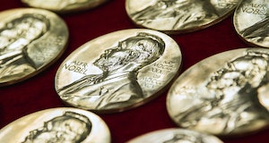 Nobel Prize medals are pictured at the end of the production on October 29, 2019 in Eskilstuna, Swed...