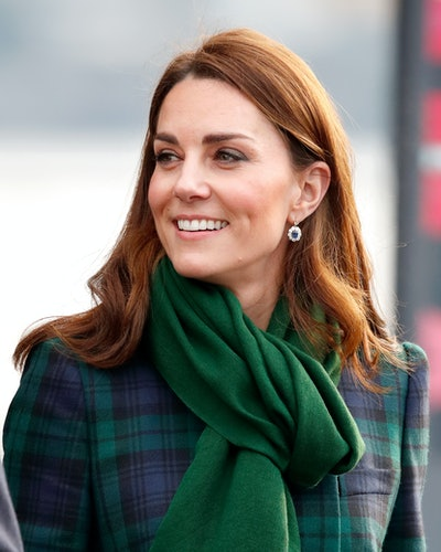 Kate Middleton wears Princess Diana's sapphire earrings in Dundee, Scotland in January 2019.