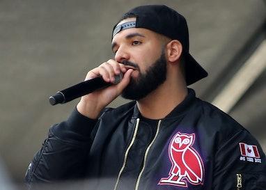 TORONTO, ON - JUNE 17: Rapper and Toronto Raptors Global Ambassador, Drake, speaks during the Toront...