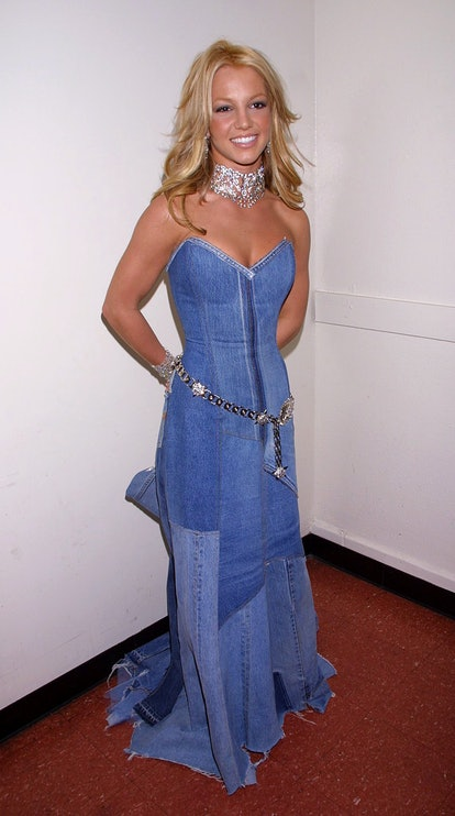Britney Spears in her all denim dress from the 2001 American Music Awards.