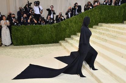 US socialite Kim Kardashian arrives for the 2021 Met Gala at the Metropolitan Museum of Art on Septe...