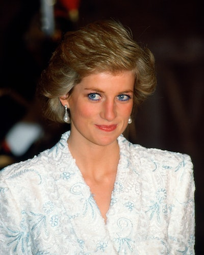 Princess Diana wearing her South Sea Pearl earrings during a visit to France.