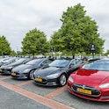Lelystad, The Netherlands- May 30th, 2019: Multiple Tesla cars parking on parking lot in Lelystad